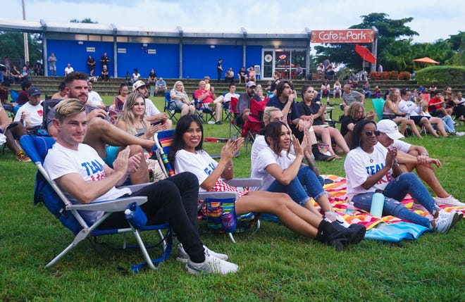 Jake Ilardi's fans attend a watch party for his Olympic skateboarding competition at Payne Park in Sarasota on Saturday.