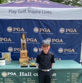 Dover's Isaac Bowland, 10, tied for second place in the PGA Northern Ohio Section - 9 Hole Futures Tour Championship held At Mud Run Golf Course in Akron. Borland, a son of Ryan and Jamie Bowland of Dover, was honored for having the longest putt of the Tour.