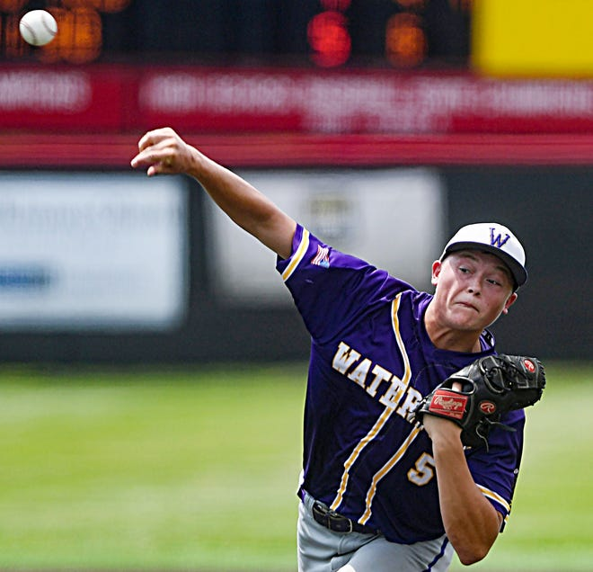 Watertown's Easton Thury pitched in relief Friday and Saturday in both of Watertown Post 17's games in the state Class A American Legion Baseball Tournament at Brandon. Post 17 lost to Sioux Falls East 6-1 on Friday and to Pierre 6-3 in eight innings on Saturday.