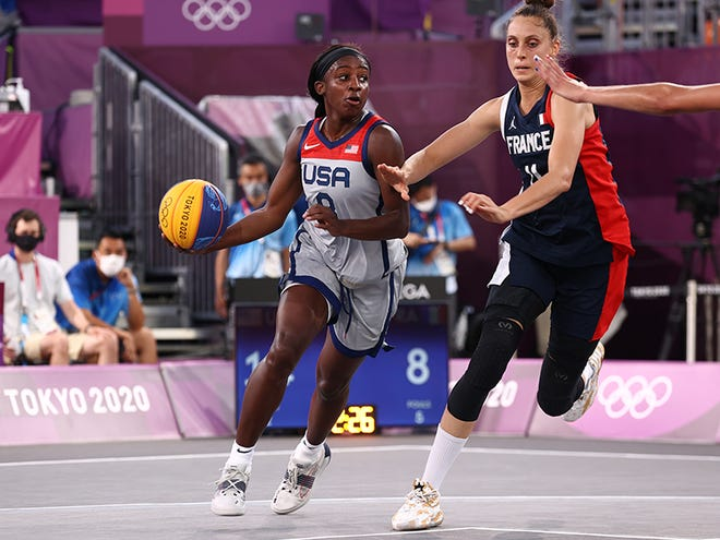 Jackie Young scored one point and grabbed four boards in the USA's win over France.
