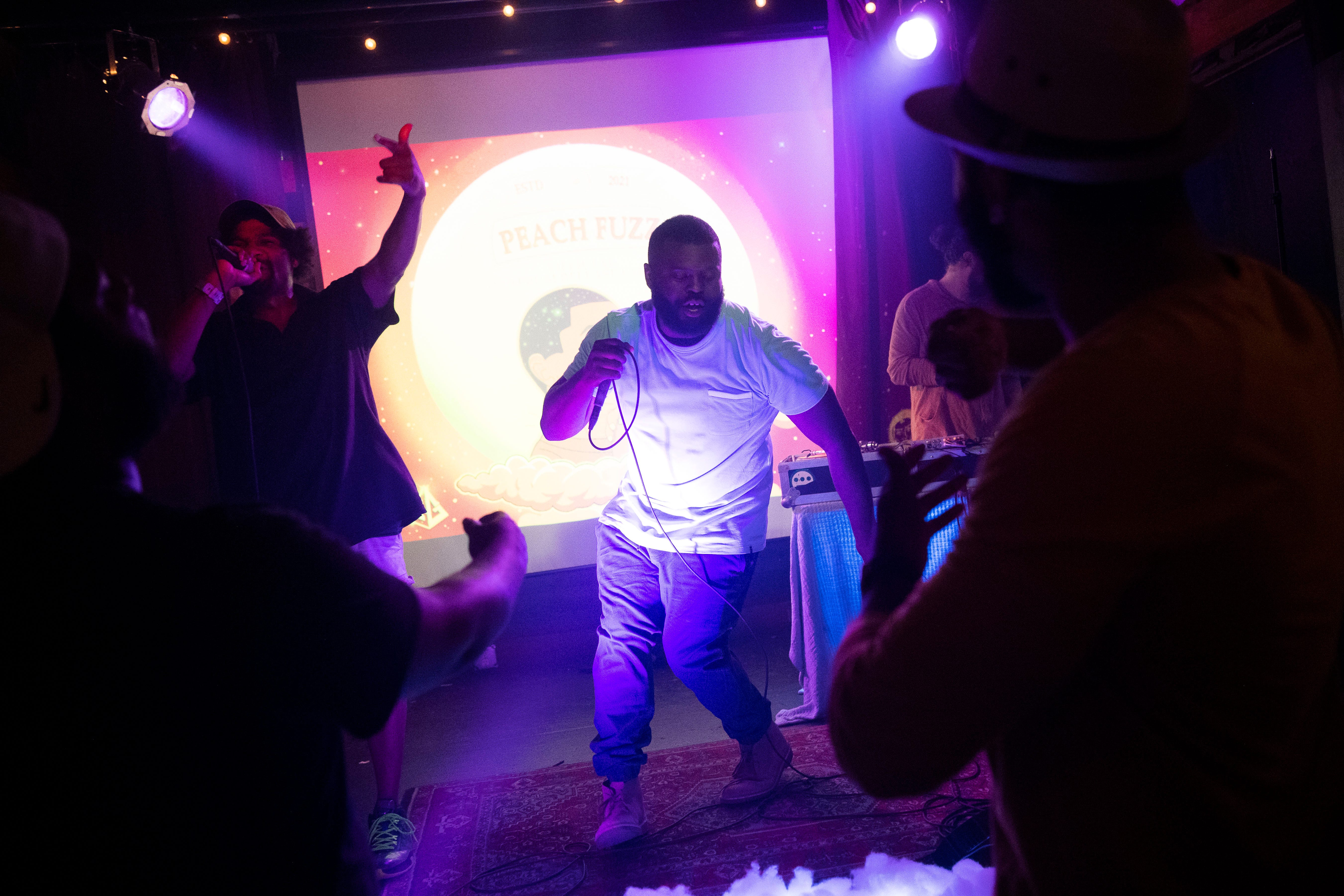 """Alongside Colby Earles (left), Jarius Bush performs at The Pilot Light to promote """"Peach Fuzz,"""" the first installment in his three-part series of albums about growing up. Hip-hop, however, has been plateauing in Knoxville for years, Earles said, leaving local artists scrambling to find ways to promote their careers and the overall scene."""