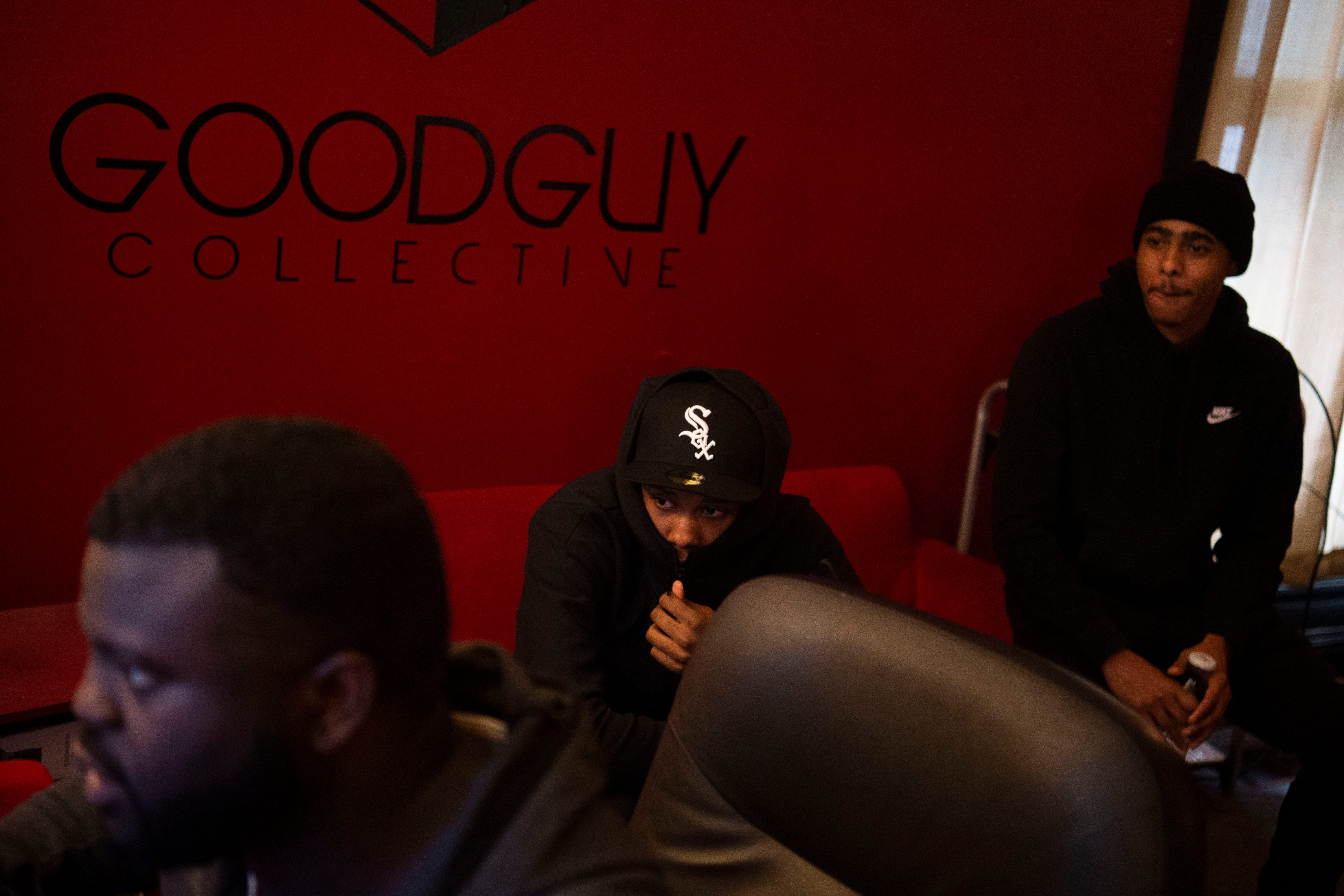 Jarius Bush, left, works with rappers Terrence Price, aka TP, center, and Ashante Price, aka Swoo, during a recording session in the Good Guy Collective space at the Birdhouse in Knoxville, Tenn. on Friday, Feb. 26, 2021.