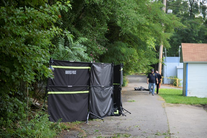 Mansfield police erected a screen in the alley behind 171 Blymyer Avenue, safeguarding a body that was found on Saturday.