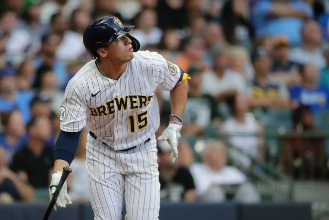 Milwaukee Brewers' Tyrone Taylor drops his bat as he watches his solo home run during the second inning of a baseball game against the Chicago White Sox, Saturday, July 24, 2021, in Milwaukee.