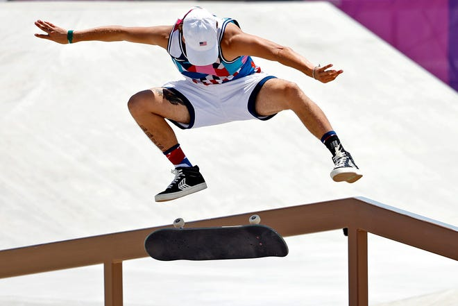 Jagger Eaton (USA) competes mens street skateboarding during the Tokyo 2020 Olympic Summer Games at Ariake Urban Sports Park.