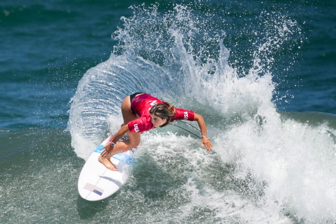 Caroline Marks (USA) surfs in women's round 1 competition during the Tokyo 2020 Olympic Summer Games at Tsurigasaki Surfing Beach.