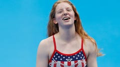 Lydia Jacoby of the United States looks on during training at the Tokyo Aquatics Centre ahead of the 2020 Olympic Games on July 22, 2021.