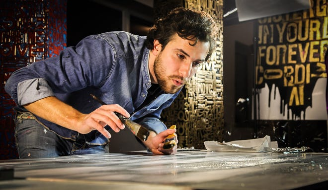 French artist Karl Lagasse works with silver leafing for a project he did for Messika, a luxury jeweler. Lagasse just opened a gallery in the Hill Country Galleria in Bee Cave.