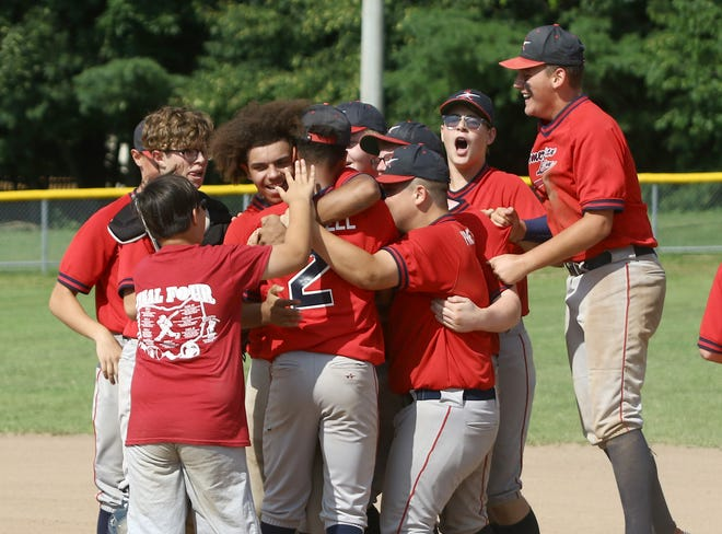 The American Legion Post 166 celebrates after their win over Amherst after their Hot Stove Baseball F League state final played on Sunday, July 25, 2021, at Butler-Rodman Park.