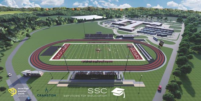 A rendering of the renovation project at Ridgeland-Hardeeville High School's football stadium and the Jasper County Alternative Program's parking area.