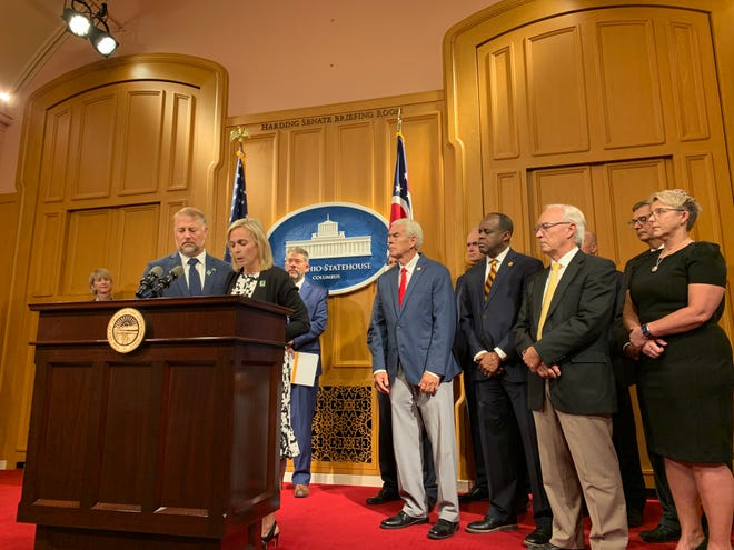 Cory and Shari Foltz discuss new anti-hazing principles introduced by a group of presidents with the Inter-University Council of Ohio during a news conference Monday afternoon at the Ohio Statehouse. Their son Stone died as the result of a hazing incident at Bowling Green State University in March.