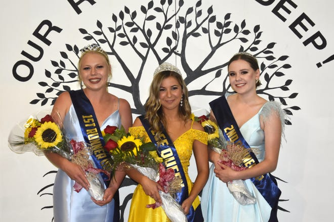 The 2021 Lenawee County Fair queen's court are, from left, first runner-up Rylee Clairday of Onsted; 2021 Lenawee County Fair queen Autumn Snyder of Adrian and second runner-up Allie Bretz of Adrian.