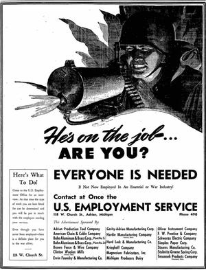 """A """"help wanted"""" ad from the April 21, 1943, edition of the Adrian Daily Telegram is pictured, encouraging local participation in the World War II war efforts. Lenawee County manufacturers producing essential war materials suffered labor shortages during a time of increased demand for war products."""