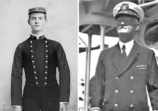 Sexton as an Annapolis cadet in 1893 and as a seasoned Navy commander on the eve of World War II.