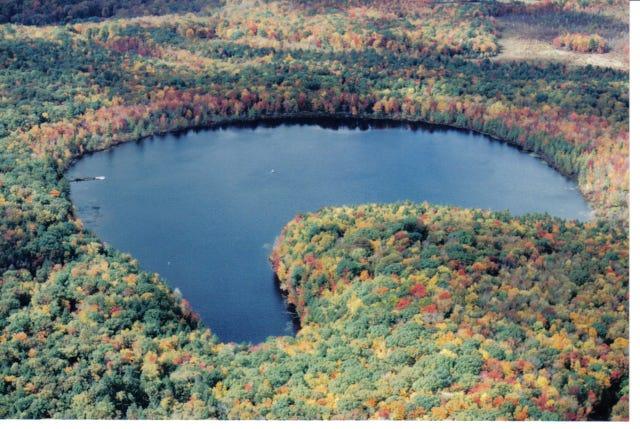 An aerial view of Lake Lacawac.