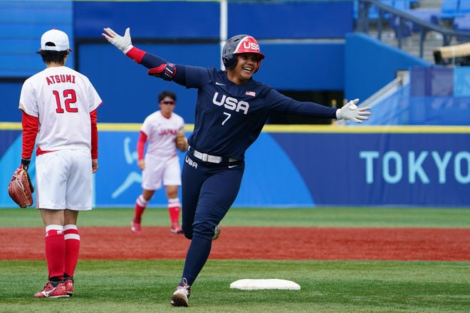 Jul 26, 2021; Yokohama, Japan; Team United States utility Kelsey Stewart (7) rounds the bases after hitting a home run in the seventh inning against Team Japan in the opening round softball game during the Tokyo 2020 Olympic Summer Games at Yokohama Baseball Stadium. Mandatory Credit: Kareem Elgazzar-USA TODAY Network