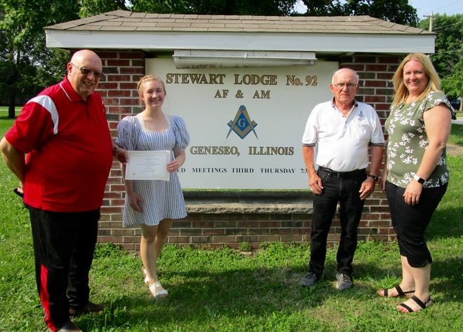 Olivia Johnson, second from left, has been named the recipient of the Illinois Masonic Grand Lodge Scholarship. With Johnson in the photo are from left, Ed Walker, secretary of Geneseo Stewart Masonic Lodge No. 92; Jimmy Cowan, past master of the Geneseo Lodge; and Olivia's mother, Alison Johnson.