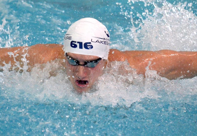 MLA's Derek Maas set the Holland Community Aquatic Center record in the 100 butterfly on Sunday.