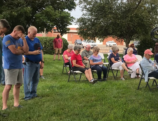 More than 50 people gathered at Krehbiel Park July 25 to pray for first responders who have responded to a string of recent tragedies in the Newton area.
