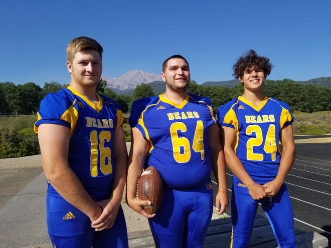 Cole Kindley, Matteo DeLeon and Cameron Collord are three players excited to hit the gridiron for the Mount Shasta High school Bears in 2021 after a lost season due to the COVID-19 pandemic.