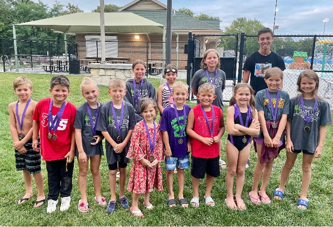 First year swimmers for the Nebraska City swim team are, front row, from left: Calvin Weninger, Clifford Wagner, Nevaeh Welch, Emerson Stanek, Cecilia Bruggeman, Gage Greedy, Liam Augustin, Leighton Brehm, Amelia Moody and Cora Moody; second row: Isabel Schizas, Leira Womochil, Addison Walker and Daniel Adanza. Not pictured are Elizabeth Kearney, Phineas Krog, Anna Ramage, Heidi Rutt, Keylan Spidell, Kyson Spidell, Cooper Taylor, Cosette Wagner and Kazyn Woods.