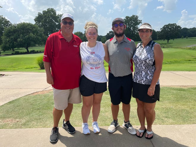 From left: David, Haylee, Travis and Rachel Poole at Cherokee Hills Golf Club for Oklahoma Golf All-State on Monday. (James D. Jackson/The Oklahoman)