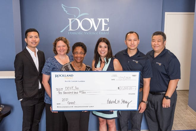 From left, Aiden Nguyen, senior fundraising and communications coordinator at DOVE Inc.; Sue Chandler, executive director at DOVE Inc.; Dawn Hayes, director of marketing and philanthropy at DOVE Inc.; Andrea Borowiecki, VP, charitable giving and community engagement at Rockland Trust; John Yu, VP, North Quincy branch manager at Rockland Trust; and Clemens Leung, VP, Quincy branch manager at Rockland Trust.