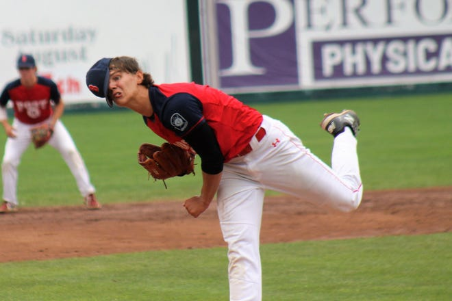 Booma Post 6 starter Owen Fox delivers a pitch during Sr. Legion state tournament action Sunday at Holman Stadium in Nashua.
