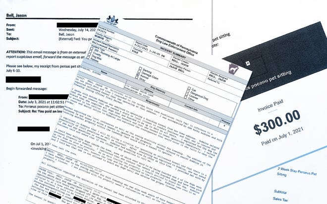 A photo illustration shows redacted emails, receipts and a citation shared by the Commonwealth of Pennsylvania Dog Law Enforcement Office with the Pocono Record.