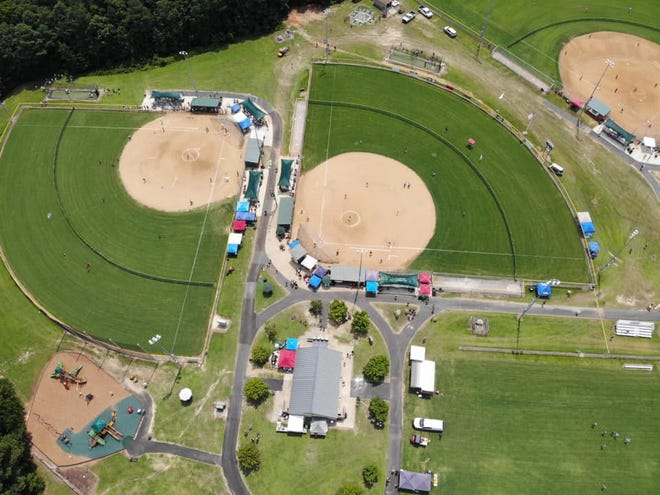 An aerial view of the JEJ Moore Athletic Complex during the 2021 Dixie Softball World Series in Prince George County.