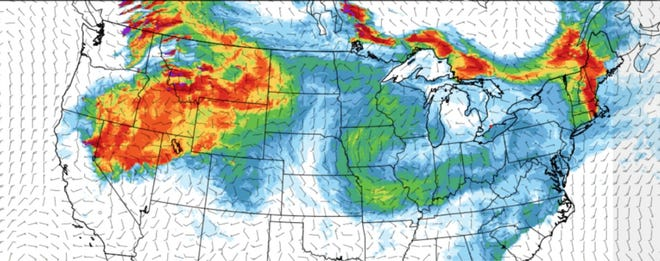 The state Department of Environmental Management posted this map of near-surface smoke in a Facebook post Monday. The DEM says Rhode Island this week is getting smoke particles from wildfires in Canada.