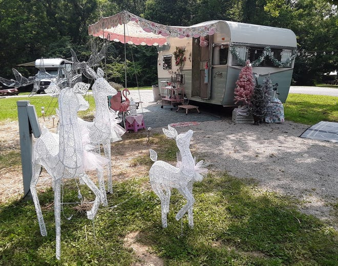 A sight decorated by Jen Sandlin of Spencer and Michelle Roberts of Bloomington at Spring Mill State Park.