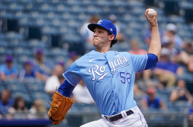 Kansas City Royals rookie Daniel Lynch (52) delivers a pitch against the Detroit Tigers on Sunday at Kauffman Stadium. Lynch pitched eight shutout innings for his first career win.