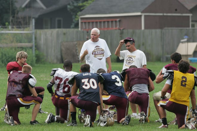 Jimtown head football coach Bill Sharpe speaks to his team at practice in this 2007 file photo. Sharpe will be inducted Wednesday into the National High School Athletic Coaches' Hall of Fame.