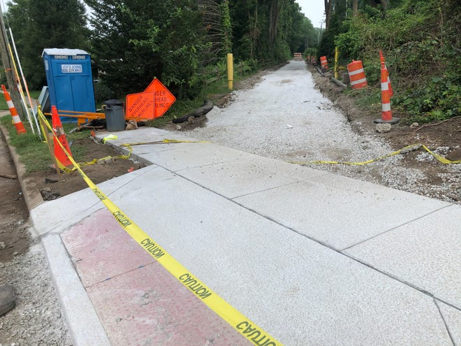 Temporary trail restoration began recently on South Bend's East Bank Trail, just north of North Shore Drive, after utility work by Indiana Michigan Power.