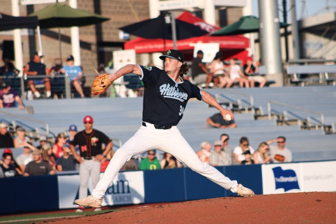 Blake Walston fires a pitch during a game with the Hillsboro Hops earlier this season. The New Hanover graduate is 3-3 this season with the Arizona Diamondbacks affiliate. [CONTRIBUTED PHOTO]