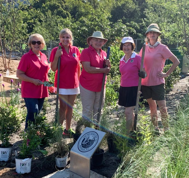 Pictured from left, Cape Fear Garden Club members Gayle Ward, Meredith Lewis, Linda Snyder, Karen Smith, and Sarah Anderson.