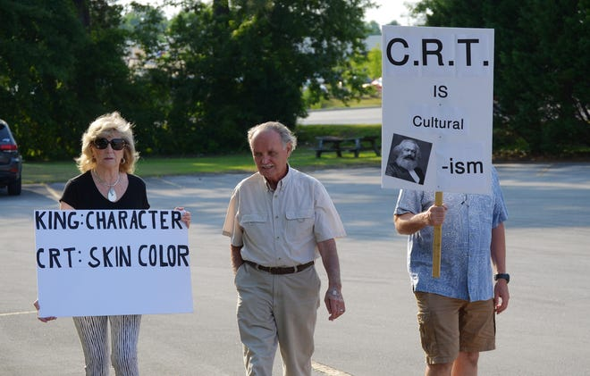 In May, a demonstration organized by the Craven County Republican Party drew approximately 60 people to the Board of Education Administration Building to protest the teaching of critical race theory.