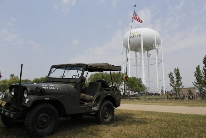 The military vehicle convoy lined up at the Brown County Fairgrounds, where they are staying until the convoy leaves Aberdeen, Wednesday, July 28.