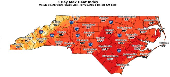 Look for the heat index in the Cape Fear region to climb into triple digits over the next few days.