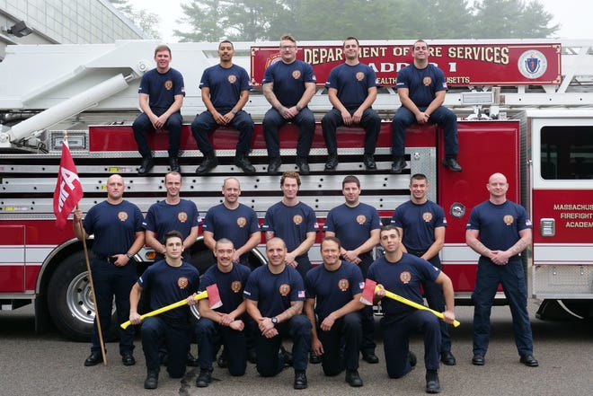 State Fire Marshal Peter J. Ostroskey and Deputy State Fire Marshal Maribel Fournier announced the graduation of 40 firefighters from the Massachusetts Firefighting Academy in July. Pictured is Class No. BW11, who trained at the Bridgewater campus.