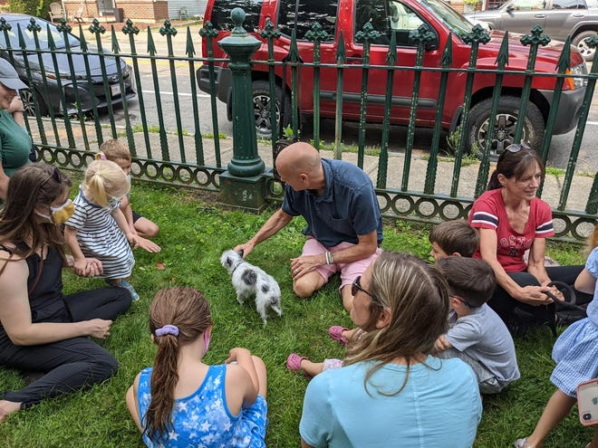 A recent therapy dog program at the Bacon Free Library.