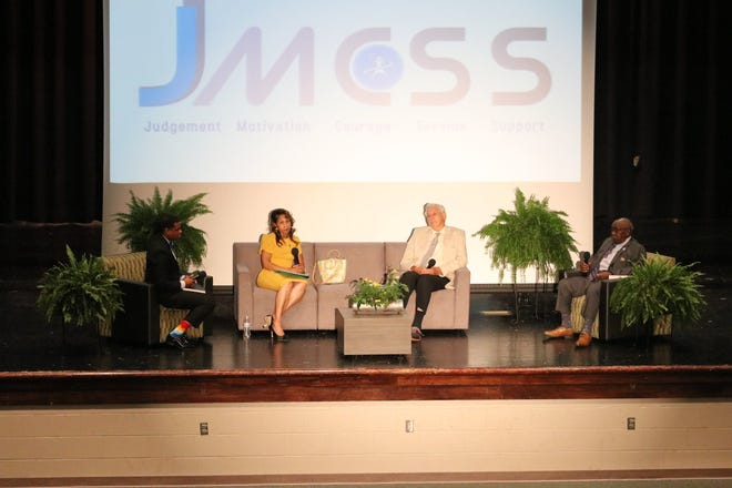 Jackson-Madison County Schools Superintendent Marlon King has a panel discussion with former JMCSS principals Virginia Stackens-Crump, Jimmy Arnold and Clarence Boone.