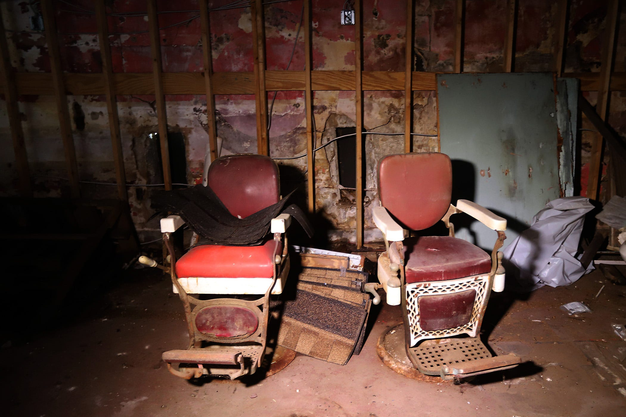 A pair of vintage barber chairs still sit on the first floor of the historic hotel and nightclub The Dew Drop Inn in New Orleans. Founder and owner Frank Painia began as a barber and continued to cut hair at the Dew Drop until he died in 1972.