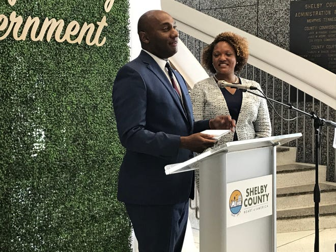 Shelby County Mayor Lee Harris stands with Dr. Michelle Taylor, who was approved as director of the Shelby County Health Department Monday, July 26.