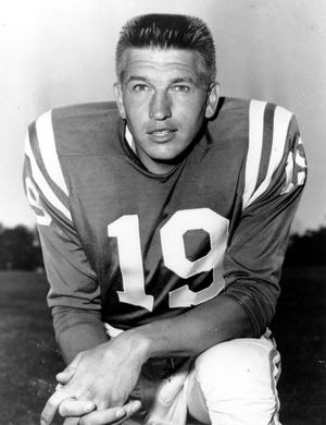 This is a July 18, 1960 photo of quarterback Johnny Unitas of the Baltimore Colts.  (AP Photo)