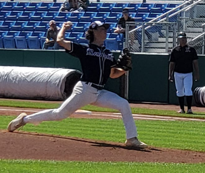 Southern California Renegades starting pitcher Matt DeCrona delivers to the plate in the third inning of Monday morning's Connie Mack World Series game against the Nashville Knights at Ricketts Park.