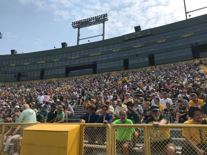 Fans fill the stands at Lambeau Field on Monday morning in preparation for the Green Bay Packers' annual shareholders meeting.
