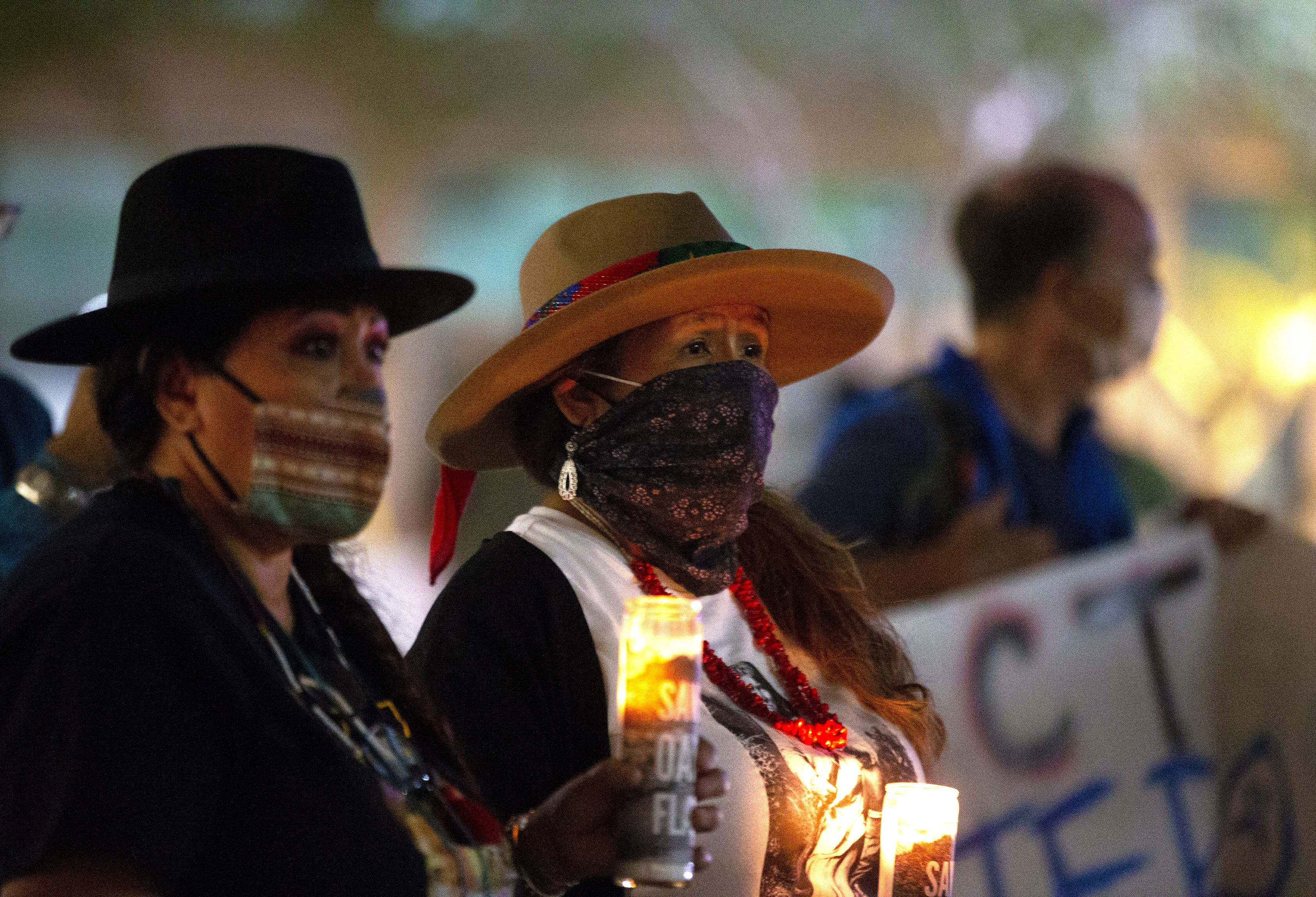Oak Flat activists hold a vigil at the Arizona Chamber  of Commerce to save the sacred land from mining.