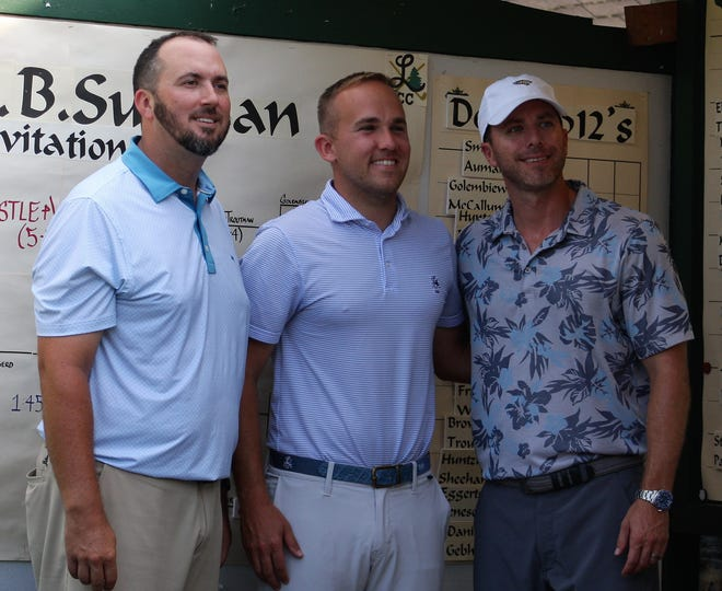 Billy Wingerd, left, with Lebanon Country Club Head Golf Professional Andrew Surette, J and partner Jeff Castle after capturing Sunday's W.B. Sullivan Invitational Four-Ball title at Lebanon Country Club.
